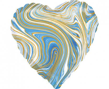 Balon foliowy Marblez serce, niebieski
