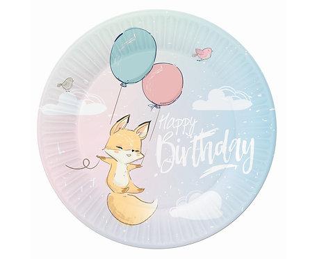 Talerzyki papierowe Kolekcja Happy Birthday - Lisek