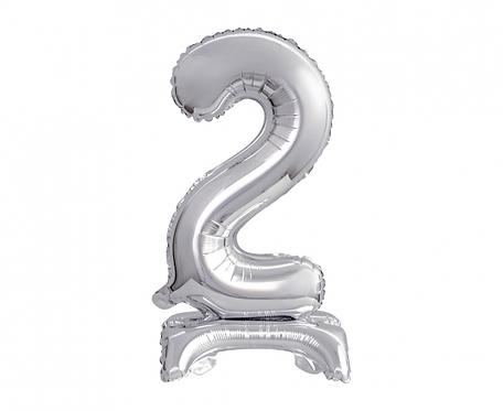 Balon foliowy B&C Cyfra stojąca 2, srebrna, 38 cm