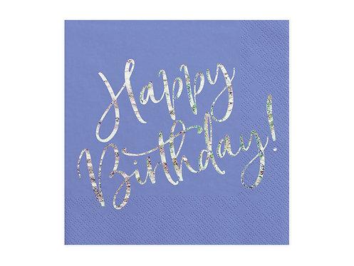 Serwetki Happy Birthday, granatowy, 33x33cm