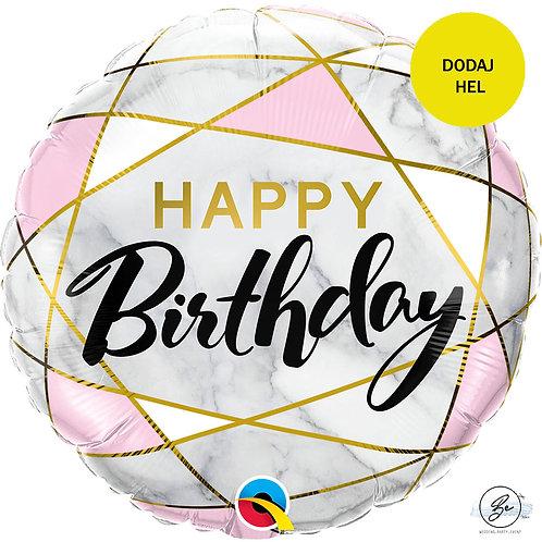 Balon foliowy 18 cali QL CIR Birthday Marble