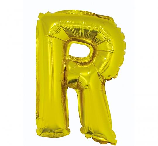 """Balon foliowy """"Litera R"""", złota, 35 cm"""