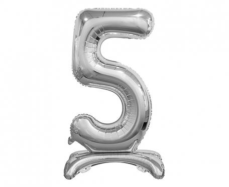 Balon foliowy B&C Cyfra stojąca 5, srebrna, 74 cm