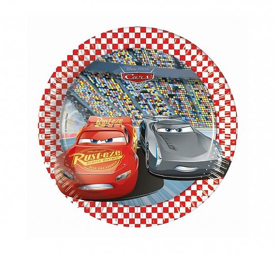 """Talerzyki papierowe """"Cars 3"""", 20 cm, 8 szt."""