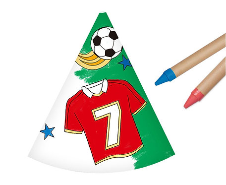 Czapeczki papierowe Pokoloruj Sam - Piłka Nożna, 6 szt