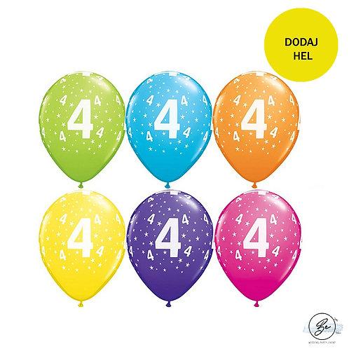 """Zestaw balonów 6 szt  QL 11"""" z nadr. """"4"""", pastel mix tropikalny"""
