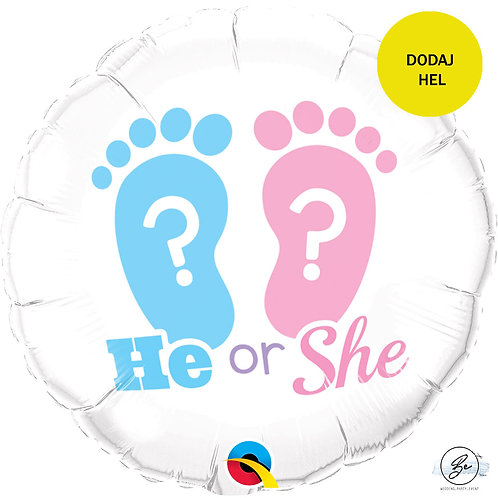"Balon foliowy 18"" QL CIR - ""Stopy HE or SHE? """