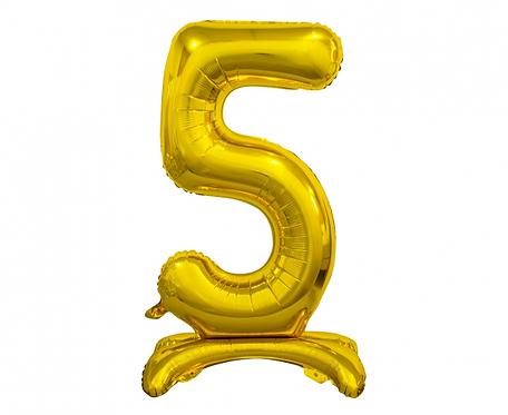 Balon foliowy B&C Cyfra stojąca 5, złota, 74 cm