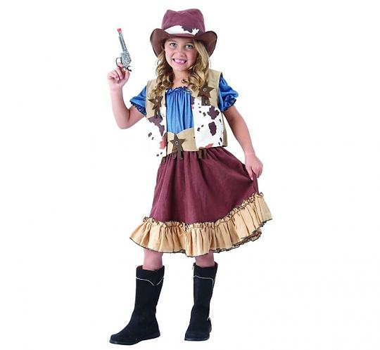 Strój dla dzieci Kowbojka (kamizelka, bluzka, spódnica, kapelusz, pasek), rozm.