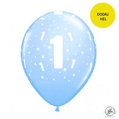 """Balon QL 11"""" z nadr. """"1"""", pastel niebieski"""