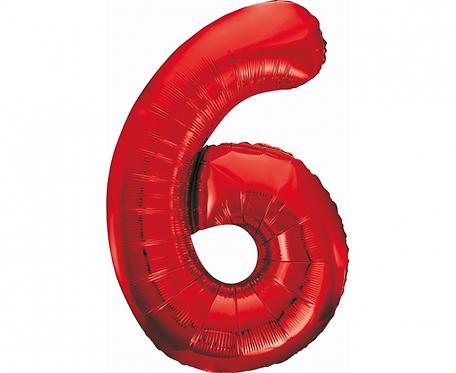 Balon foliowy B&C Cyfra 6, czerwona, 85 cm