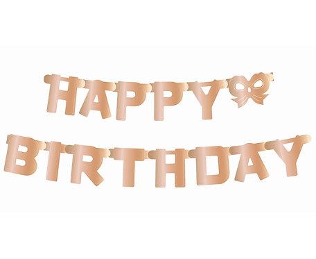 Girlanda B&C Happy Birthday, metaliczna różowo-złota