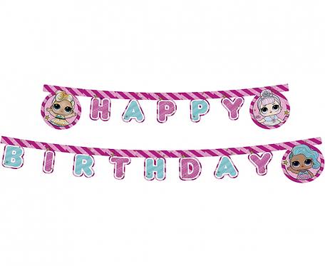 Banner Happy Birthday LOL Glitterati, 210 cm