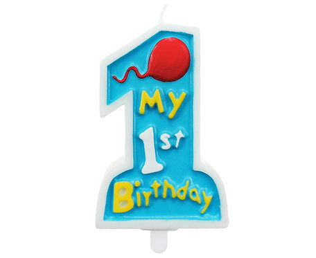 """Świeczka """"My 1st Birthday"""", niebieska"""