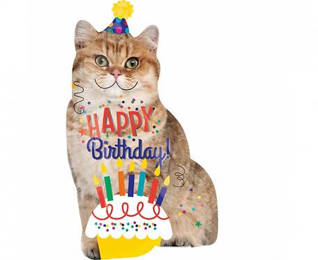 Balon foliowy Happy Birthday w kształcie kota