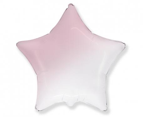 Balon foliowy - Gwiazda gradient biało-różowy