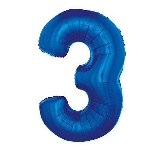 """Balon foliowy """"Cyfra 3"""", niebieska, 92 cm"""