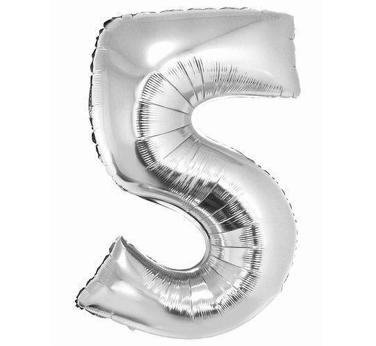 """Balon foliowy """"Cyfra 5"""", srebrna, 92 cm"""
