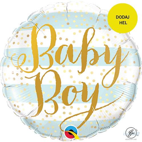 Balon foliowy 18 cali QL CIR Baby Boy, niebieskie paski