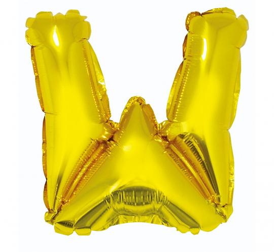 """Balon foliowy """"Litera W"""", złota, 35 cm"""
