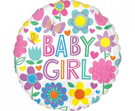 Balon foliowy 18 cali Baby Girl Floral Butterfly