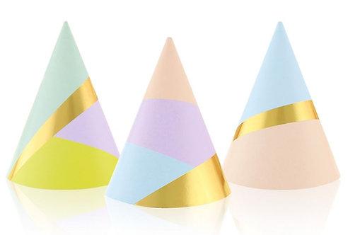 Czapeczki papierowe Pastel Party, 6 szt.