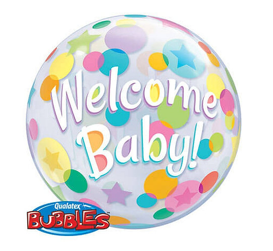 """Balon foliowy 22"""" QL Bubble Poj. """"Welcome Baby Kolorowe Grochy"""""""