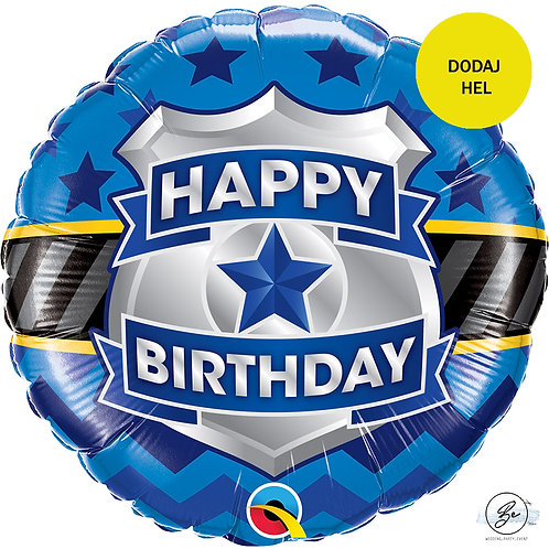 Balon foliowy 18 cali QL CIR - Happy Birthday Badge