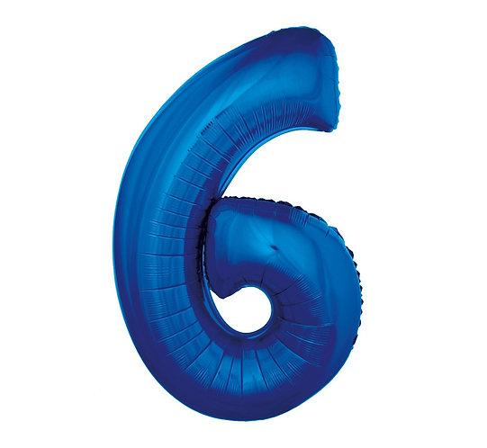 """Balon foliowy """"Cyfra 6"""", niebieska, 92 cm"""
