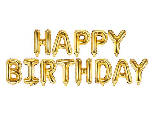 Balon foliowy Happy Birthday, 340x35cm, złoty