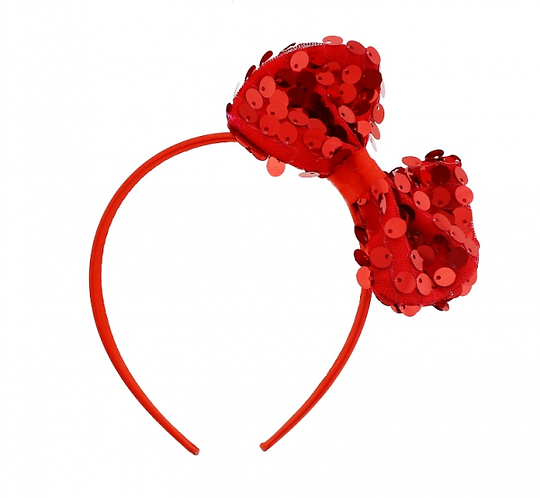 Opaska Muszka z cekinami, czerwona