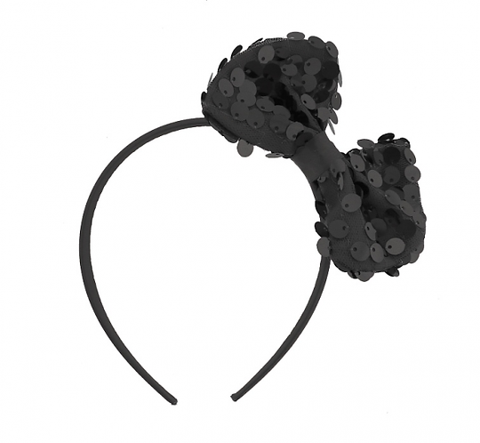 Opaska Muszka z cekinami, czarna