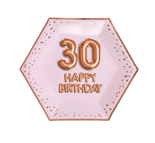 """Talerzyki papierowe """"Glitz & Glamour"""",Różowa, złoto-różowy 30 Urodziny, rozm. 27"""