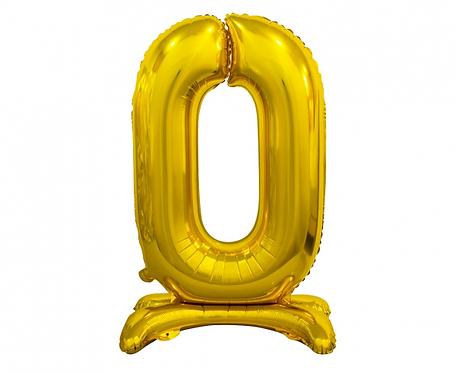 Balon foliowy B&C Cyfra stojąca 0, złota, 74 cm