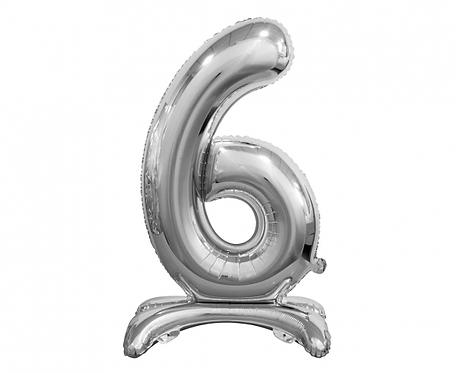 Balon foliowy B&C Cyfra stojąca 6, srebrna, 74 cm