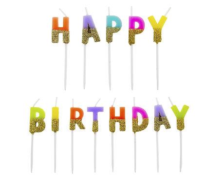 Świeczki pikery Happy Birthday, z brokatem