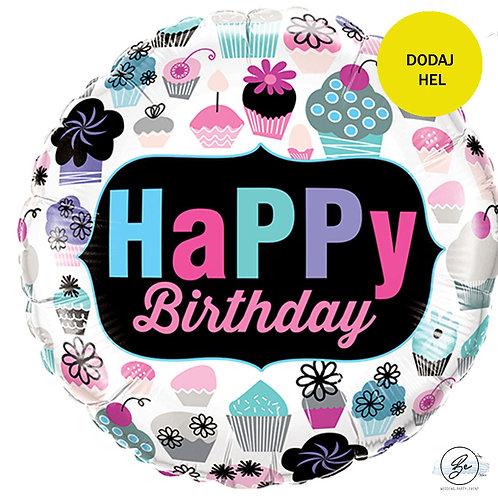 Balon foliowy 18 cali QL CIR - BDAY Cupcakes Emblem