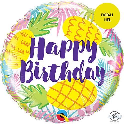 """Balon foliowy 18"""" QL CIR - """"Birthday Pineapples"""""""