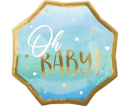 Balon foliowy SuperShape Baby Boy, niebieski,55x55 cm