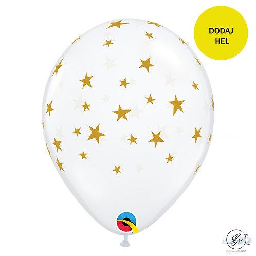 Balon 11 cali QL z nadr. CONTEMPO STARS, transparentny