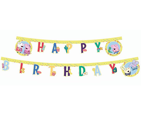 Banner urodzinowy Świnka Peppa - Happy Birthday, 230 cm