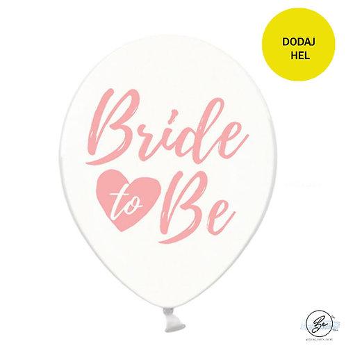 Balon Bride to be, Crystal Clear z różowym nadrukiem