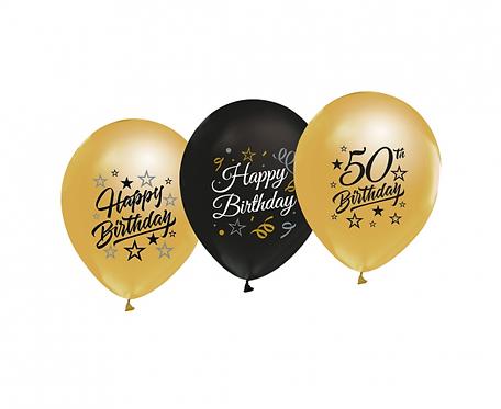 """Balony Beauty&Charm 12"""" z nadrukiem """"50"""", złote i czarne, 5 szt."""