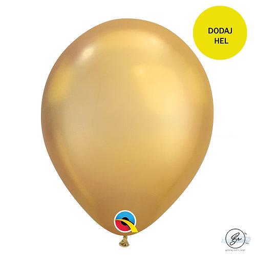 Balon 11 cali QL chrom złoty