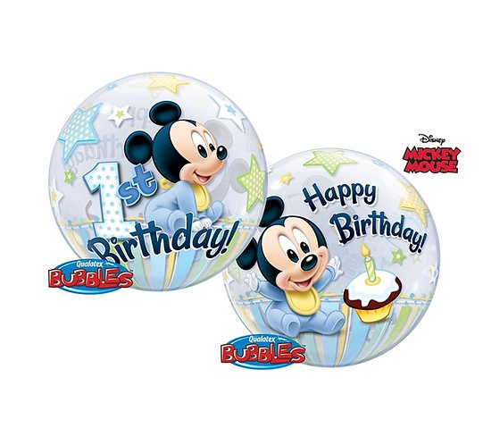 """Balon foliowy 22"""" QL Bubble Poj. Mickey Mouse 1 Urodziny"""