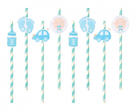 Słomki papierowe B&G Baby Boy, jasnoniebieskie
