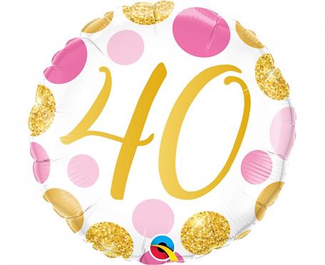 Balon foliowy 18 cali QL 40 Urodziny, różowo-złote grochy