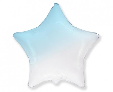 Balon foliowy - Gwiazda gradient biało-błękitny