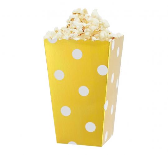 """Pudełka na popcorn """"Groszki"""", złote, 8.8x7.5x15 cm, 4 szt."""