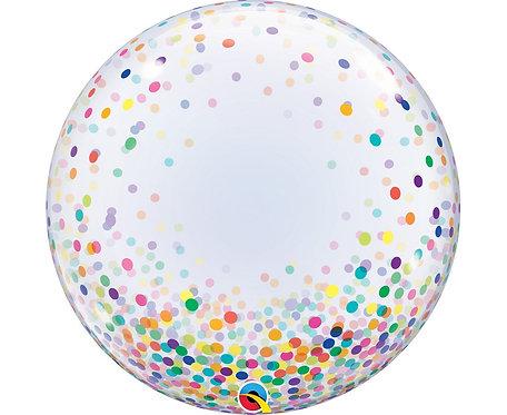 "Balon foliowy 24"" QL Deco Bubble, kolorowe grochy"